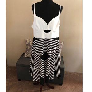 NWT Asos Cream and Black Bustline Keyhole Dress